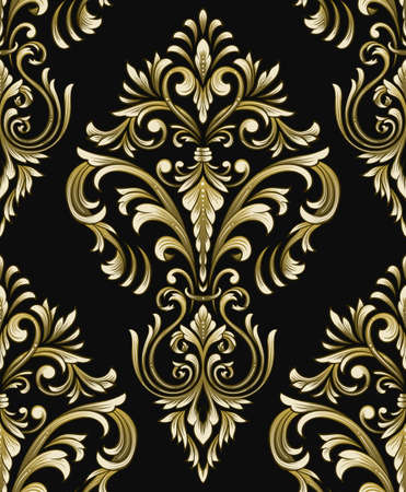 Vector detailed damask seamless pattern element. Classical luxury old fashioned damask ornament, royal victorian seamless texture for wallpapers, textile, wrapping. Exquisite floral baroque template Ilustrace
