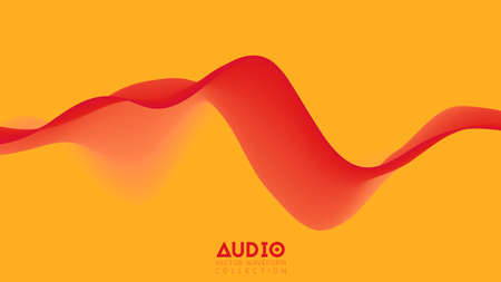 Vector 3d solid surface audio wavefrom. Abstract music waves oscillation spectrum. Futuristic sound wave visualization. Colorful impulse pattern. Synthetic music technology sample Çizim