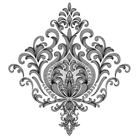 Vector damask element. Isolated damask central illustration. Classical luxury old fashioned damask ornament, royal victorian texture for wallpapers, textile, wrapping. Çizim