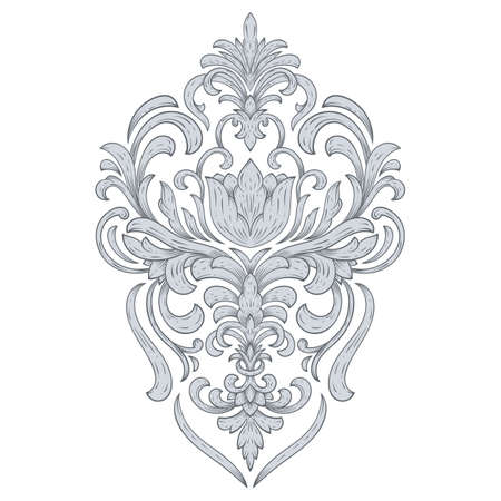 Vector damask element. Isolated damask central illustration. Classical luxury old fashioned damask ornament, royal victorian texture for wallpapers, textile, wrapping.