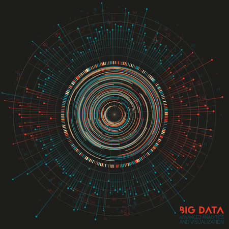 Vector abstract colorful big data information sorting visualization. Social network, financial analysis of complex databases. Visual information complexity clarification. Intricate data graphic. Vetores