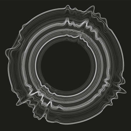 Vector 3d echo audio circular waveform spectrum. Abstract music waves oscillation graph. Futuristic sound wave visualization. Glowing impulse pattern. Synthetic music technology sample