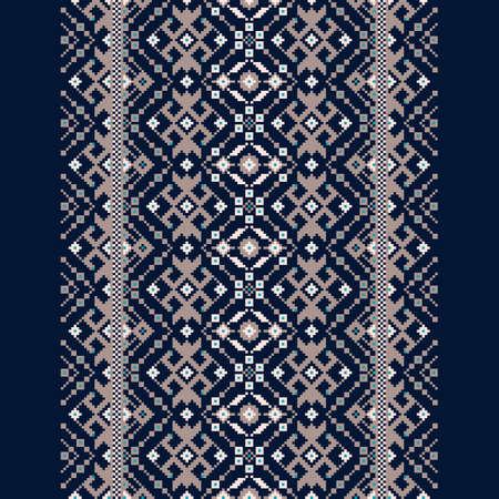 Vector illustration of Ukrainian folk seamless pattern ornament. Ethnic ornament. Border element. Traditional Ukrainian, Belarusian folk art knitted embroidery pattern
