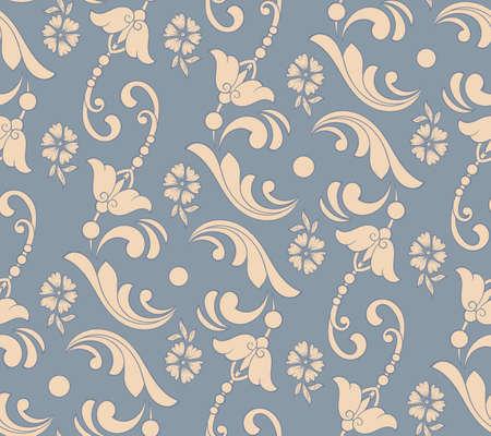 Elemento de patrón transparente de flor de vector. Textura elegante para fondos. Adorno floral antiguo de lujo clásico, textura fluida para fondos de pantalla, textiles, envoltura Ilustración de vector