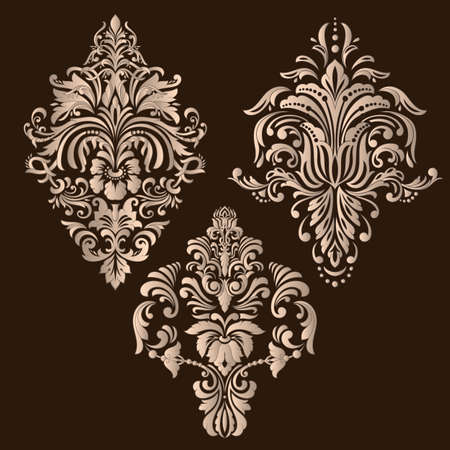 Ensemble de vecteur d'éléments ornementaux damassés. Éléments abstraits floraux élégants pour la conception. Parfait pour les invitations, les cartes, etc.