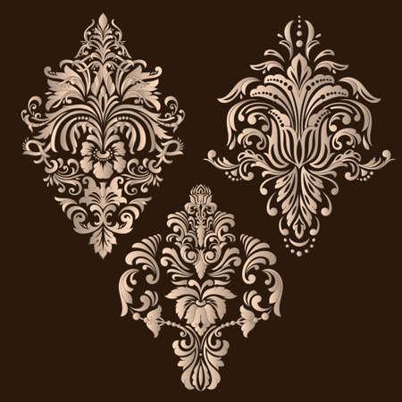 Insieme di vettore degli elementi ornamentali damascati. Eleganti elementi astratti floreali per il design. Perfetto per inviti, biglietti, ecc