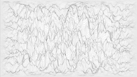 Trendy ultra thin striped backdrop with wave distortion lines. Abstract noise landscape. Procedural ripple background