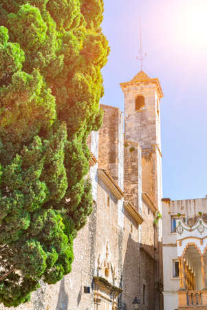 Bell tower of medieval stone cathedral and cypress tree. Church, Iglesia Arbos in the village Arbos del Panades. L Arboc, province of Tarragona, Catalonia