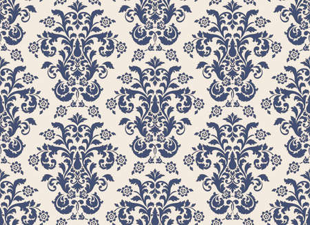 Damask seamless pattern element. Vector classical luxury old fashioned damask ornament, royal victorian seamless texture for wallpapers, textile, wrapping. Vintage exquisite floral baroque template Vektoros illusztráció