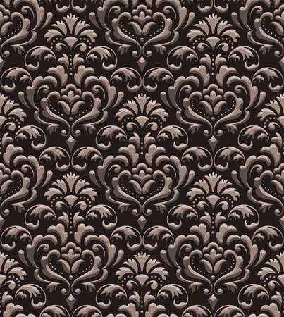 Damask seamless emboss pattern background. Vector classical luxury old damask ornament, royal victorian seamless texture for wallpapers, textile, wrapping. Vintage exquisite floral baroque template Vetores