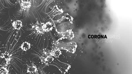 Vector conceptual Coronavirus illustration. 3d virus form on a abstract background. Pathogen visualization. Design for banner information, flyer, poster, etc