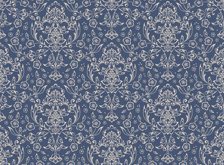 Damask seamless emboss pattern background. Vector classical luxury old damask ornament, royal victorian seamless texture for wallpapers, textile, wrapping. Vintage exquisite floral baroque template