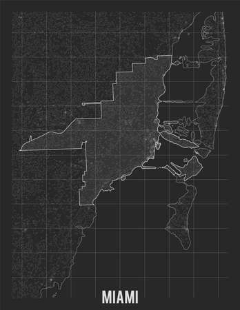 City map of Miami. Vector elevation map of town. Generated conceptual surface relief map. Detailed geographic elegant landscape scheme. Topographic outline poster.