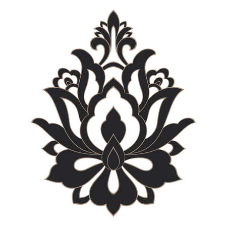 Vector damask element. Isolated damask central illistration. Classical luxury old fashioned damask ornament, royal victorian texture for wallpapers, textile, wrapping.