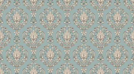 Vector damask border element and page decoration. Classical luxury border decoration pattern. Seamless texture for textile, wrapping etc. Vintage exquisite floral baroque template. Иллюстрация