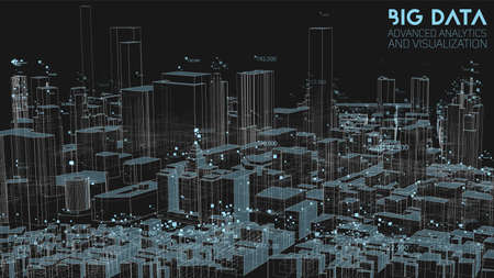 3D Big data in modern city. Abstract social information sorting visualization. Human connections or urban financial structure analysis. Complex geospatial data. Visual information complexity