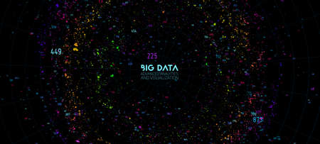 Big data cloud visualization. Futuristic infographic. Information cloud computing. Visual data complexity. Complex business chart analytics. Social network representation. Abstract data graph