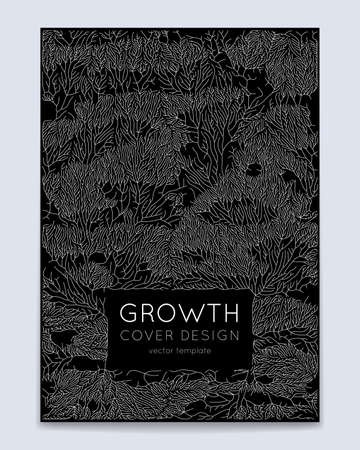 Cover with vector generative branch growth pattern. Lichen like organic structure with veins. Monocrome square biological net of vessels. Expansion concept. 일러스트