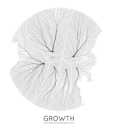 Vector generative branch growth pattern. Round texture. Lichen like organic structure with veins. Monocrome square biological net of vessels