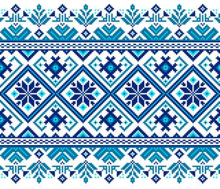 Vector illustration of Ukrainian folk seamless pattern ornament. Ethnic ornament. Border element. Traditional Ukrainian, Belarusian folk art knitted embroidery pattern - Vyshyvanka.