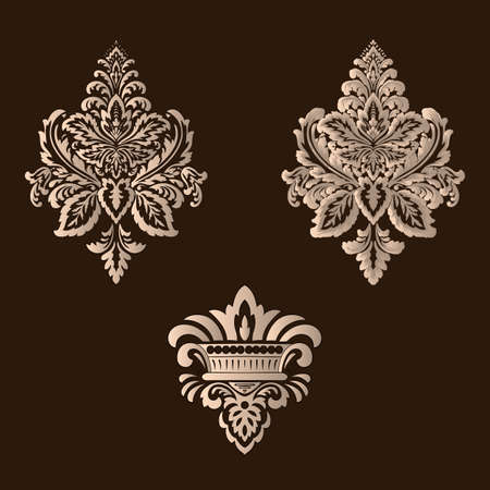 Vector set of damask ornamental elements. Elegant floral abstract elements for design. Perfect for invitations, cards etc Vettoriali