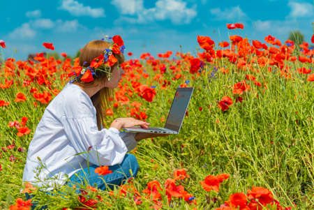 Young beautiful woman working on a laptop in poppy field in summer. Sitting on the ground. Remote work concept 版權商用圖片