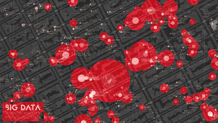 Big data in modern city. Abstract social information sorting visualization. Human connections or urban financial structure analysis. Complex geospatial data. Visual information complexity