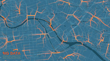 Big data traffic analysis in modern city. Abstract road capacity limits visualization. Car routes net graphic. Urban infrastructure analysis. Complex geospatial data. Visual information complexity