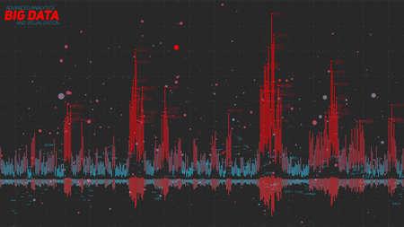 Big data bar graph. Financial data visualization. Intricate stock threads analysis. Business analytics representation. Futuristic infographics aesthetic design. Finance concept.