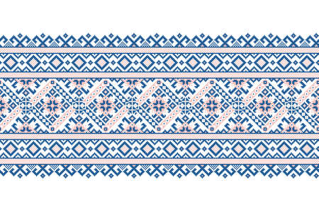 Vector illustration of Ukrainian folk seamless pattern ornament. Ethnic ornament. Border element. Traditional Ukrainian, Belarusian folk art knitted embroidery pattern - Vyshyvanka. Ilustración de vector
