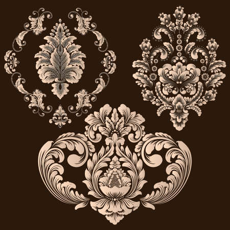 Vector set of damask ornamental elements. Elegant floral abstract elements for design. Perfect for invitations, cards etc 矢量图像