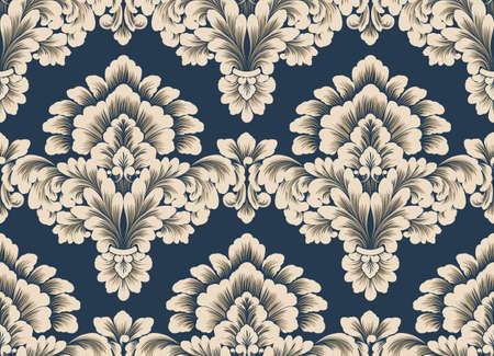 Damask seamless pattern element. Vector classical luxury old fashioned damask ornament, royal victorian seamless texture for wallpapers, textile, wrapping. Vintage exquisite floral baroque template