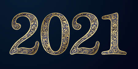 Vector Happy New Year background with 2021 sign constructed with floral ornament. New year design element. Holiday design template for invitations, greeting card etc. Elegant ornate numbers