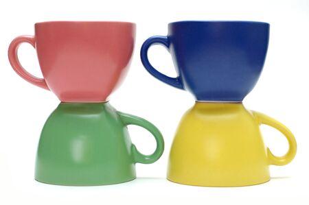 Tasses de caf� lumineuses isol�s sur un fond blanc Banque d'images