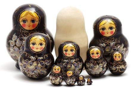 russian nesting dolls: Set of Russian nested dolls on a white background Stock Photo