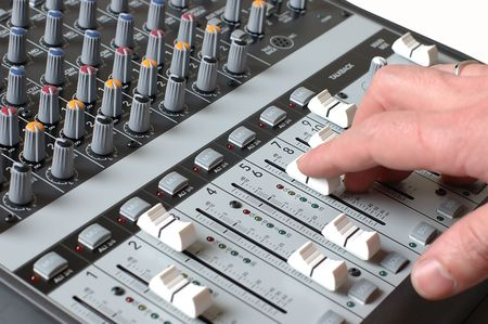 Mixer in sound studio of the sound producer