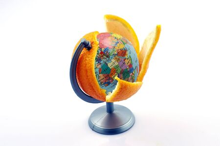 Oranges with a stuffing of a planet on a white background