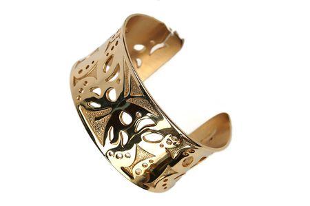 Bracelet en or isol� sur un fond blanc. Banque d'images