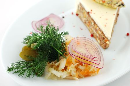 crudite: Salad from fresh vegetables with cucumbers and cabbage