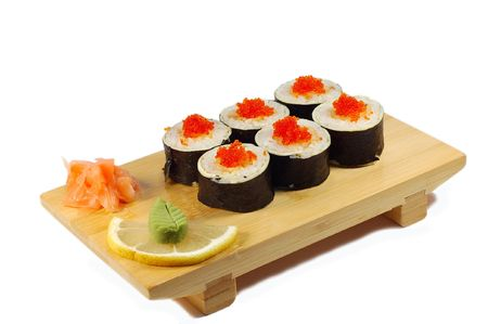 Roll Aby tempuro maki �n the Japanese dish isolated on a white background. photo