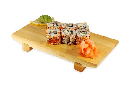 Roll hakaido maki on the japanese dish isolated on a white background. photo
