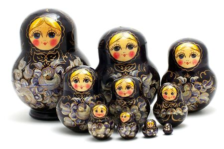 russian nested dolls: Set of Russian nested dolls on a white background Stock Photo