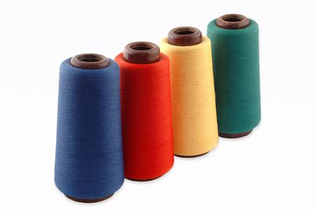 Colourful a thread on a white background Stock Photo - 6689984