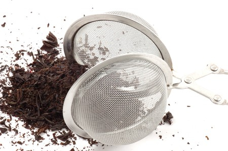 caf: Tea egg and black tea isolated on white.