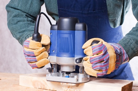 Milling cutter manual electric on a tree close up Stock Photo