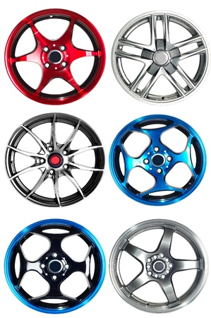 Steel alloy car rims over the white background Stock Photo