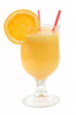 Orange juice in a glass glass with an orange slice on a white background photo