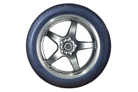Car tire with rim on a white background Stock Photo - 10552507