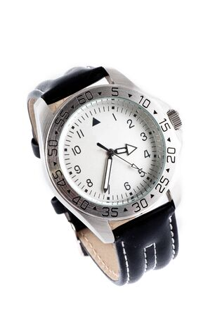 thong: Watch with a black leather thong isolated on a white background.