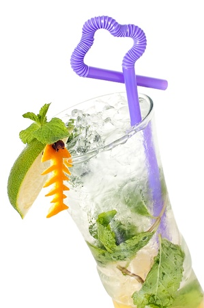 pinnaple: Artly decorated cocktail with leaves of mint and ice close up on a white background